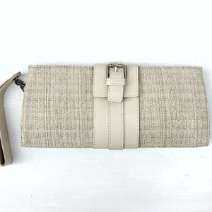 PARENTSI Ivory Tweed Rafia + Faux Leather Bag